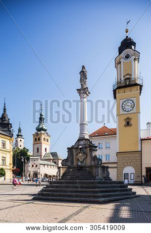 Banska Bystrica, Slovakia - August 07, 2015: Old Castle With Clock Tower On Sunny Day. Barbican. Hol