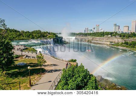 Niagara Falls, New York - June 12,2018: People Visitors On Niagara Falls Is The Waterfalls  New York