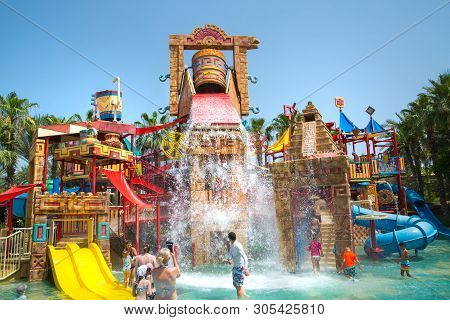 Dubai, Uae, United Arab Emirates - 28 May, 2019: Atlantis Aquaventure Water Park Locates On The Palm