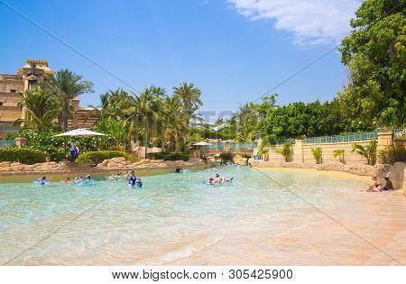 Dubai, Uae, United Arab Emirates - 28 May, 2019: Leasy River Ride In Atlantis Aquaventure Water Park