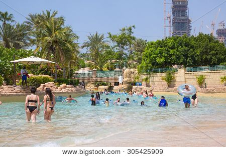 Dubai, Uae, United Arab Emirates - 28 May, 2019: Leasy River Ride In Atlantis Aquaventure Water Park