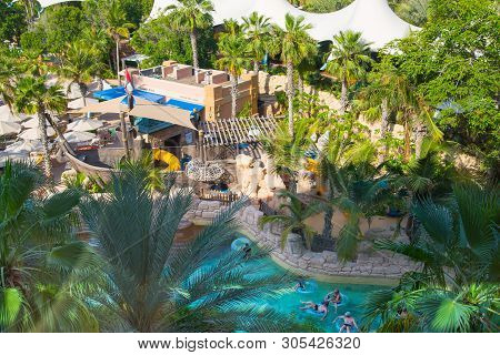 Dubai, Uae, United Arab Emirates - 29 May, 2019:  View Of Aquaventure Water Park And People Playing