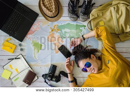 Travel Planning Concept With Map. Overhead View Of Equipment For Travelers. Background Travel Ideas