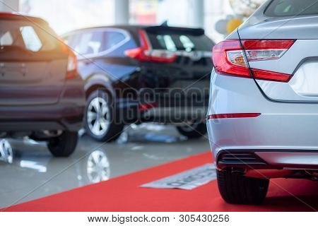 Cars For Sale. Automotive Industry. Cars Dealership Parking Lot. Rows Of Brand New Vehicles Awaiting