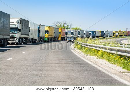 Bulgarian-turkey Border, Bulgaria - May 1, 2017. Trucks Waiting On Bulgarian Border Line To Turkey