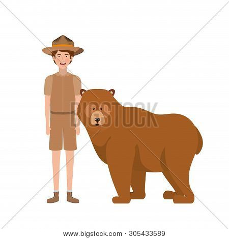 Forest ranger cartoon and bear design, life protector nature fauna and green theme Vector illustration poster