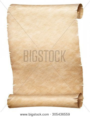 Old papyrus or parchment scroll isolated on white