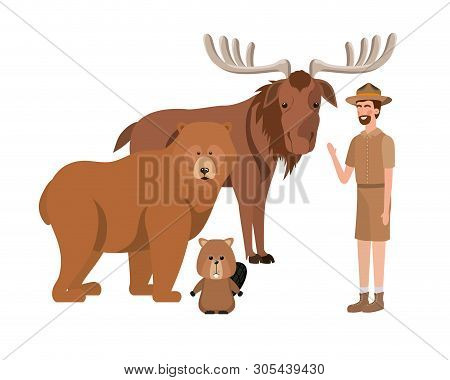 Forest ranger cartoon and animals design, life protector nature fauna and green theme Vector illustration poster