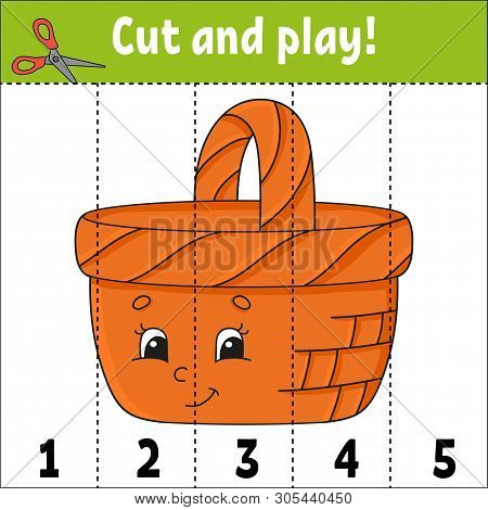 Learning numbers. Cut and play. Education developing worksheet. Game for kids. Activity page. Puzzle for children. Riddle for preschool. Flat isolated vector illustration. Cute cartoon style. poster