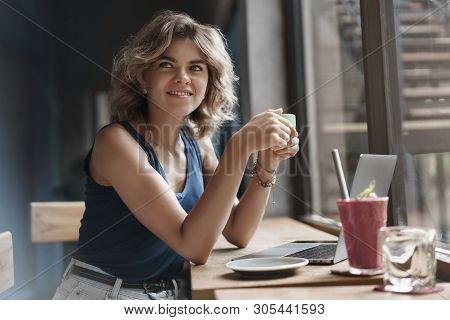 Charming Female Digital Nomad Student Freelancer Sitting Window Bar Cafe Table Enjoy Cup Delicious C