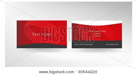 Red two sided business card