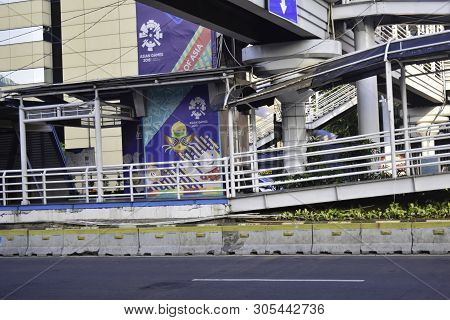 Jakarta, Indonesia, June 9 2019 : Modern Pedestrian Bridge Across The Road At M. H Thamrin Street In
