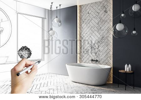 Contemporary Hand Drawn Bathroom Interior Design. Engineering And Architecture Concept.