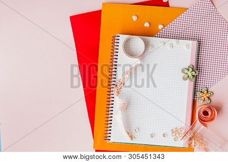 Set For Scrapbooking, Creative Mess. Scotch For Scrapbooking.pink Background