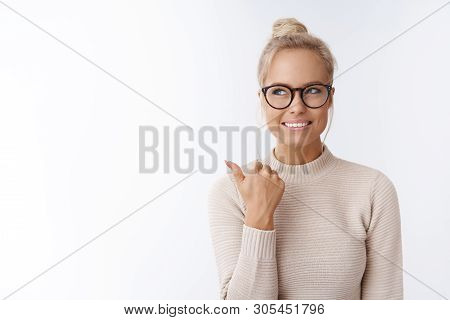 Great Idea Came Girls Mind. Charming Sassy And Stylish Blond Woman In Glasses Smiling Creative And I