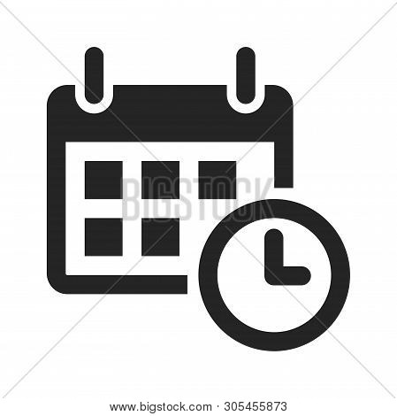 Calendar And Time Icon Isolated On White Background. Calendar And Time Icon In Trendy Design Style.
