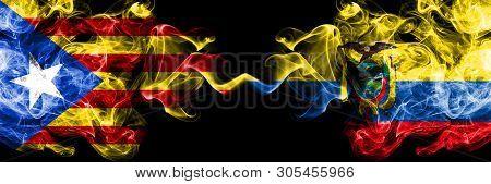 Catalonia Vs Ecuador, Ecuadorian Smoke Flags Placed Side By Side. Thick Colored Silky Smoke Flags Of