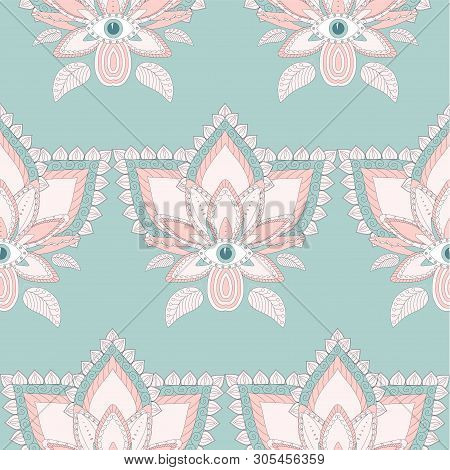 Stylised Lotus Flower Seamless Pattern On Blue. Blue And Pink Stock Vector Isolation Design Element