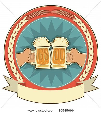 Beers Label Background With Man Hands On White
