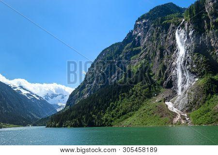 Waterfall Mountain Lake Green Photo Taked At  Stillup Lake, Austria, Tyrol