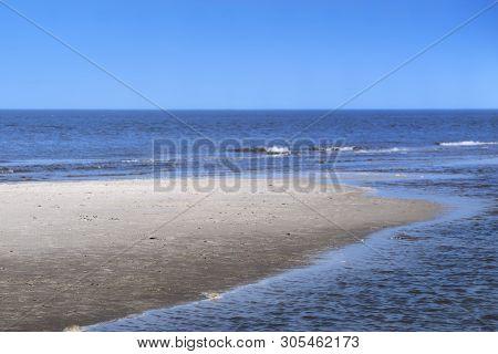 Sandbank On The Beach In Sankt Peter Ording, Germany