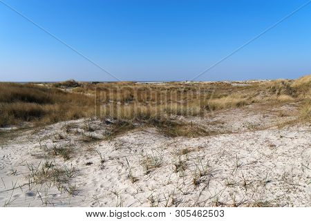 Panoramic View Over Sand Area In Sankt Peter-ording, Northern Germany