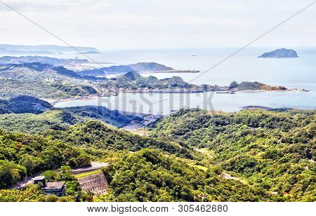 Keelung Mountain Near Taipei With A View Toward The Keelung Islet On South China Sea With Hillside V