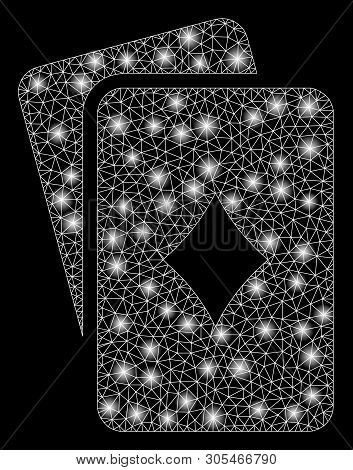 Bright Mesh Diamonds Playing Cards With Glare Effect. Abstract Illuminated Model Of Diamonds Playing