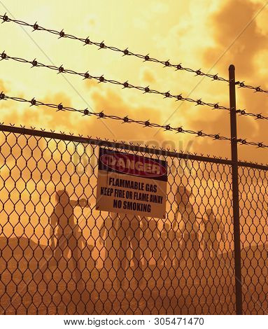 Zombies Horde Behind The Fence In Badlands,post-apocalyptic Concept Ideas,3d Rendering
