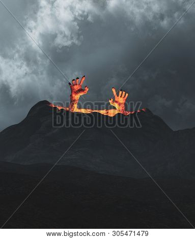 Hands Of An Undead Coming Out From Crater,3d Illustration