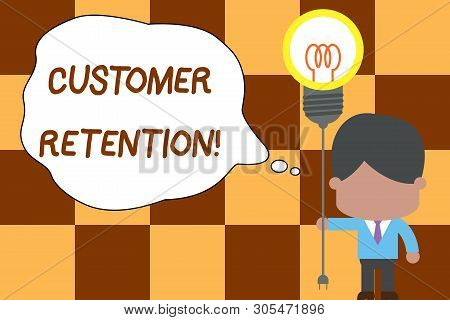 Conceptual hand writing showing Customer Retention. Business photo text Keeping loyal customers Retain analysisy as possible Standing man tie holding plug socket light bulb Idea Startup. poster