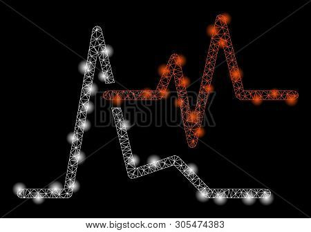 Bright Mesh Ecg With Glare Effect. Abstract Illuminated Model Of Ecg Icon. Shiny Wire Frame Triangul