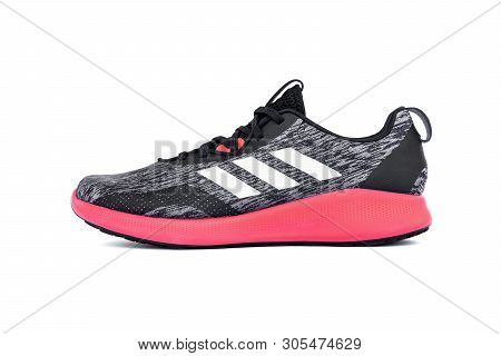 Roi Et, Thailand - June 7, 2019 : Adidas Purebounce+ Street Shoes. Lightweight Running Shoes With Sp