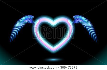 Heart Anime Neon With Wings, Blue Glow Radiant Effect Of Love With Space For Valentines Day. Decorat