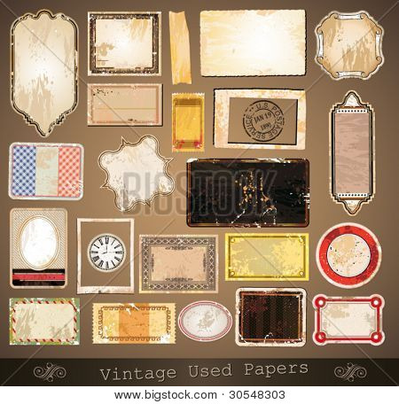 Vintage used papers and labels - A collection of different distressed retr? labels with several shapes and liquid drops on every surface.