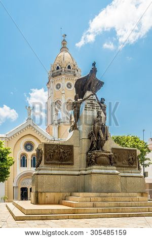 Panama City,panama - March 28,2019 - At The Place Of Bolivar In Old District (casco Viejo)of Panama