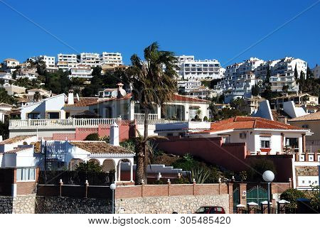 Riviera Del Sol, Spain - January 21, 2009 - View Of Whitewashed Apartments And Villas On The Hillsid