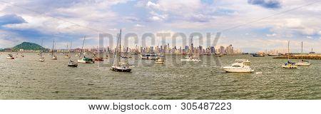 Panoramic View At The Panama City From Peninsula Bahia Panama