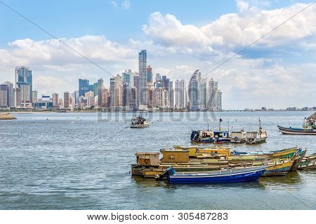 View At The Downtown Of Panama City From Fisher Port, Panama