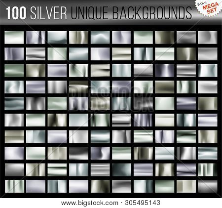 Mega Set Of 100 Unique Silver Backgrounds. Silvery Glossy Fabric With Shimmery Metallic Colors. Vect