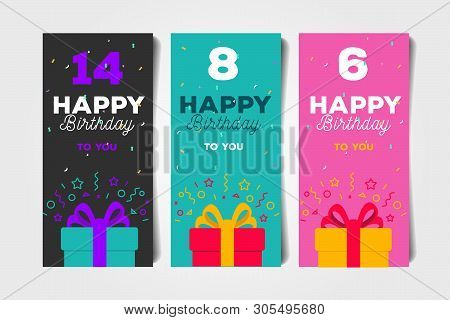 Set Of Birthday Greeting Flyers With Ift Box And Age Number