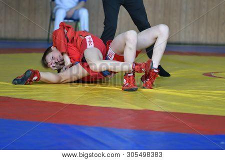 Orenburg, Russia - February 23, 2019: Boys Competitions Sambo