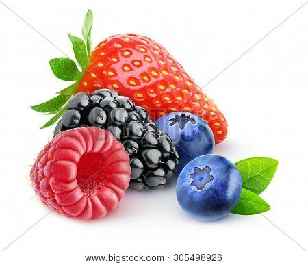 Isolated Berries. Strawberry, Blackberry, Raspberry And Blueberry Fruits In A Pile Isolated On White