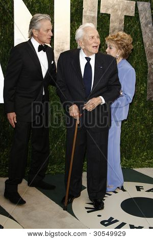LOS ANGELES - FEB 26:  Michael Douglas; Kirk Douglas; Anne Douglas arrives at the 2012 Vanity Fair Oscar Party  at the Sunset Tower on February 26, 2012 in West Hollywood, CA