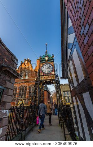 Editorial, Chester, England, The Eastgate Clock, Portrait, Blue Sky, Wide Angle, Copyspace, Autumn