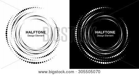 Set Of Halftone Vortex Circle Frame Dots Logo Isolated On Background. Circular Swirl Design Element