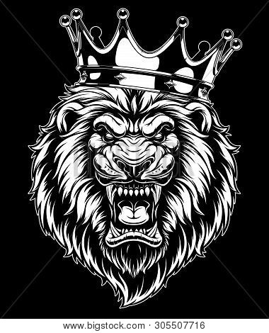 Vector Illustration, A Ferocious Lion Head Wearing A Crown, On A Black Background.