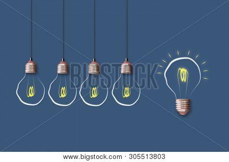 Concept Idea. Light Bulb On A Blue Background. The Concept Of Bright Ideas For Business, Frequently
