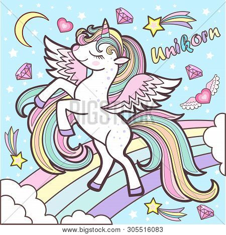 Cute Rainbow Unicorn On A Blue Background Vector Illustration. Cute Fantasy Animals On The Rainbow.