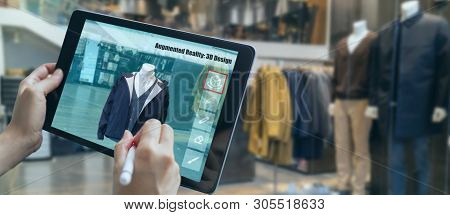 Augmented Mixed Virtual Reality To Design A Clothes In 3d Fashion Design Software Program Creating V